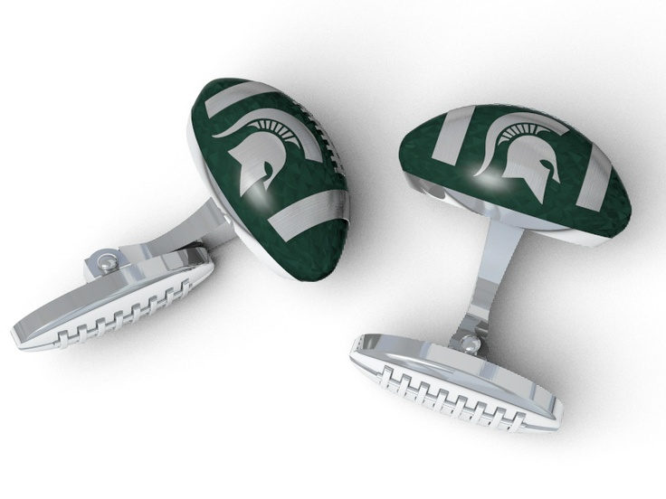 MSU football cufflinks from our new Spartan collection