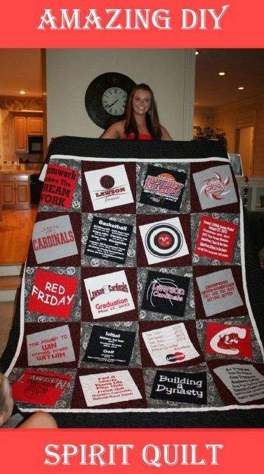 """T Shirts cut to 12"""" square and sewn at an angle on to 14"""" blocks which were then sewn together.  - Amazing School Spirit Quilts"""