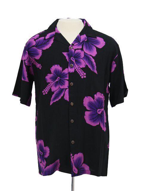 Men's Hawaiian Shirt [Big Hibiscus / Black & Purple] - Men's Hawaiian Shirts - Hawaiian Shirts   AlohaOutlet SelectShop