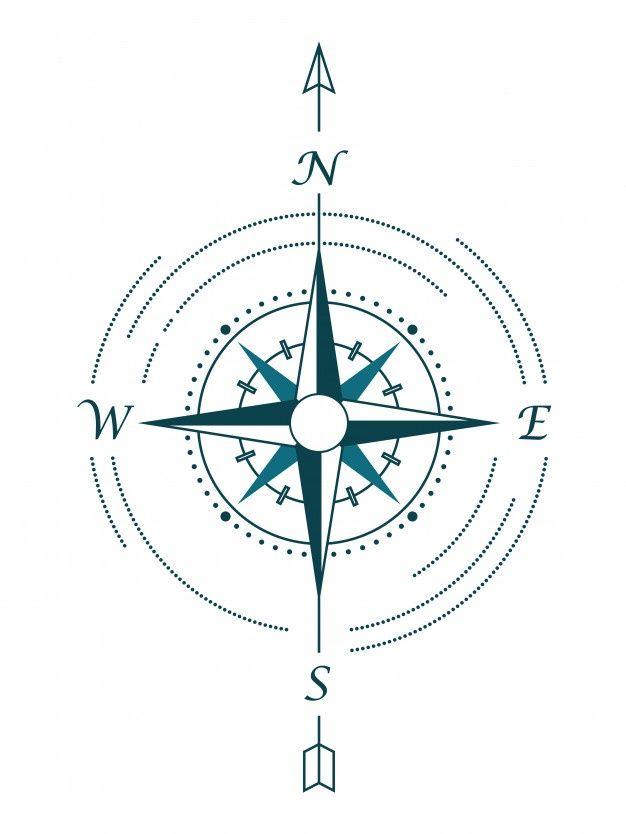 Schwarz Windrose Isoliert Auf Schwarz Kompass