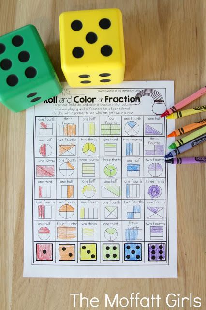 Roll and Color a Fraction- Teach addition, subtraction, sight words, phonics, grammar, handwriting and so much more with the March NO PREP Packet for First Grade!