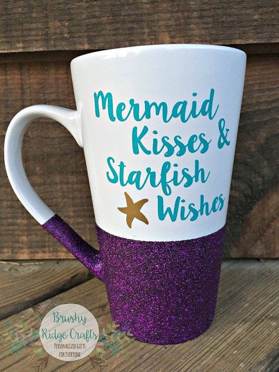 Hand Glitter Coffee Mug Mermaid Kisses & by BrushyRidgeCrafts