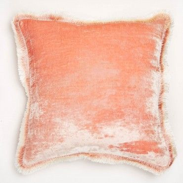 Anke Drechsel Peach Rose Silk Velvet Fringe Pillow  Exclusively at ABC, a radiant silk velvet pillow is hand-dyed in an airy peach rose hue. Each artisan-crafted piece is a product of slow design and possesses an heirloom quality.
