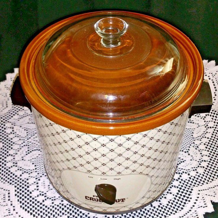 Vintage Rival Crock Pot Slow Cooker 3.5 Qt Mod 3100/2 Almond Brown Tested Works #Rival