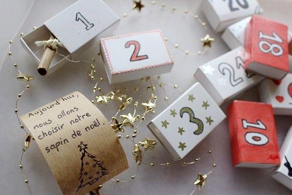 Calendrier de l'Avent DIY dans des petites boites d'allumettes ! #mamannougatine #calendrieravent #calendrier #avent #chaussette #diy #faitmaison