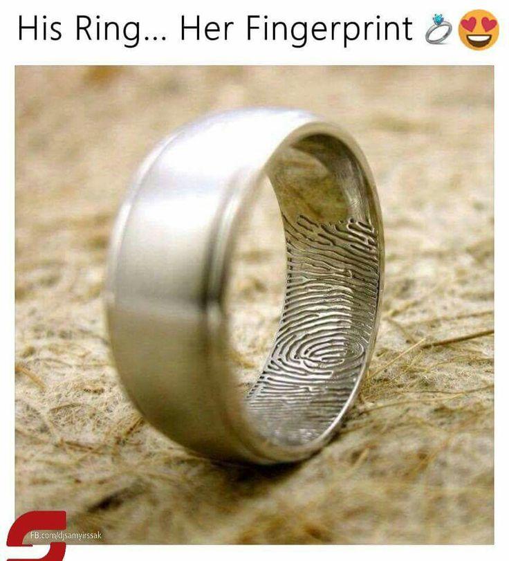 Groom's ring with bride's fingerprint
