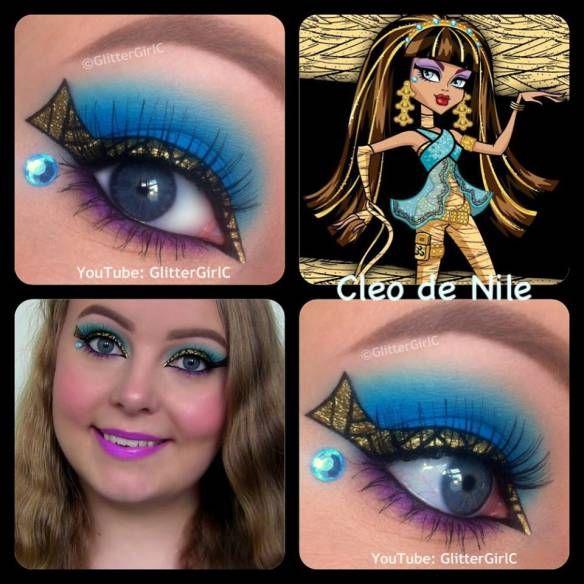 Monster High Cleo de Nile makeup. YouTube channel: https://www.youtube.com/user/GlitterGirlC