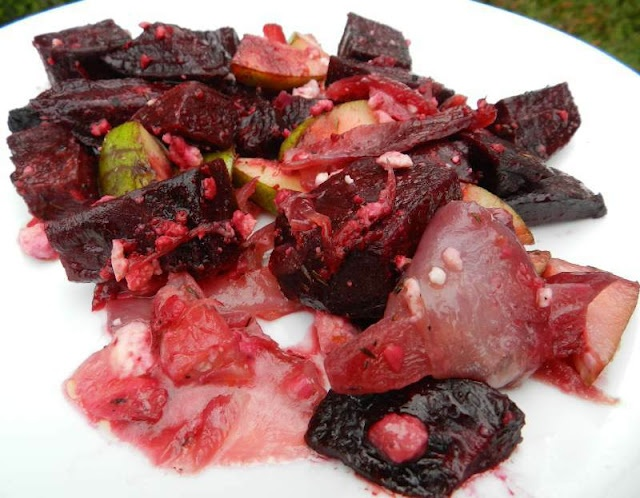 This looks so yum. A roasted beet and red onion salad with pear, feta ...