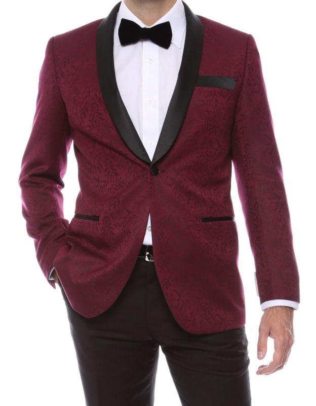 Shawl Colar Paisley Blazer for Men Tuxedo Jacket slim fit  lined vented Burgundy