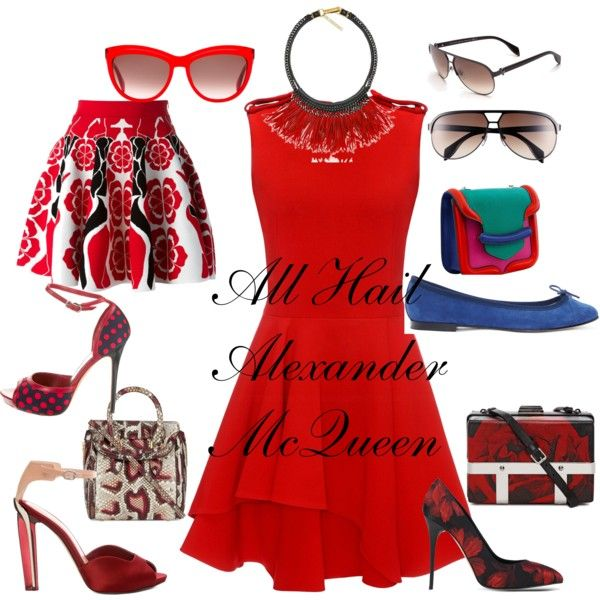 Alexander McQueen Does Red White Blue by splenderosa on Polyvore featuring Alexander McQueen, Repetto and Fiona Paxton