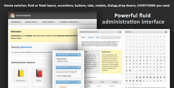 Admintasia-Powerful backend admin user interface - Admin Templates Site Templates - $12