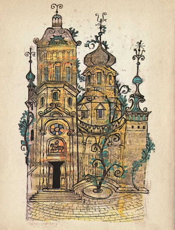 "Vintage Soviet Fairy Tale Illustration ""Russian House"" European Castle Fairytale Print - Surreal Onion Dome Castle. $25.00, via Etsy."