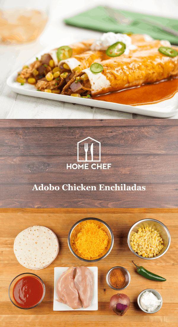 Adobo Chicken Enchiladas with corn, jalapeño pepper, and sour cream