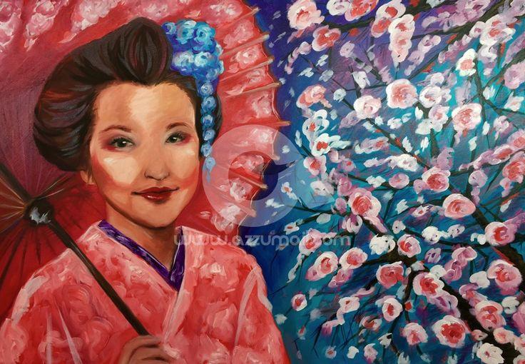 04-quadro-figurativo-moderno-geisha-oriente-giappone-japan-art-ritratto-donna-fiori-ciliegio-ombrello-rosso