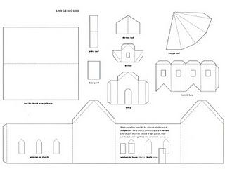 house templates from Martha Stewart and more (glitter, paper, printable, patterns, gingerbread)