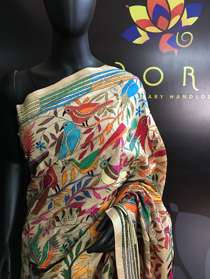 Pure silk saree with Kantha