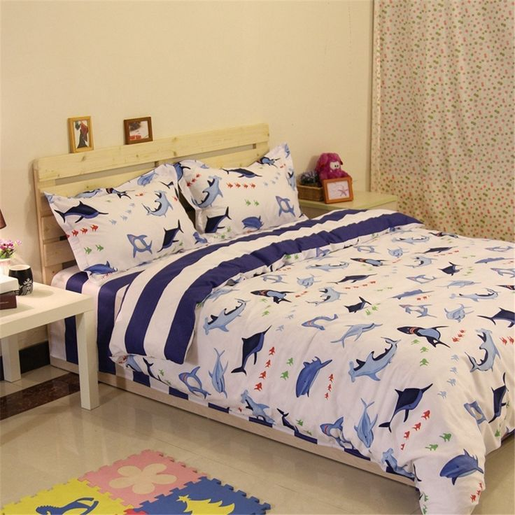 Auvoau Kids Bedding Set, Sharks Fishes Ocean Themed Stripe Kids Boys Duvet Cover Sets (4pc without comforter) //Price: $145.09 & FREE Shipping //     #hashtag3