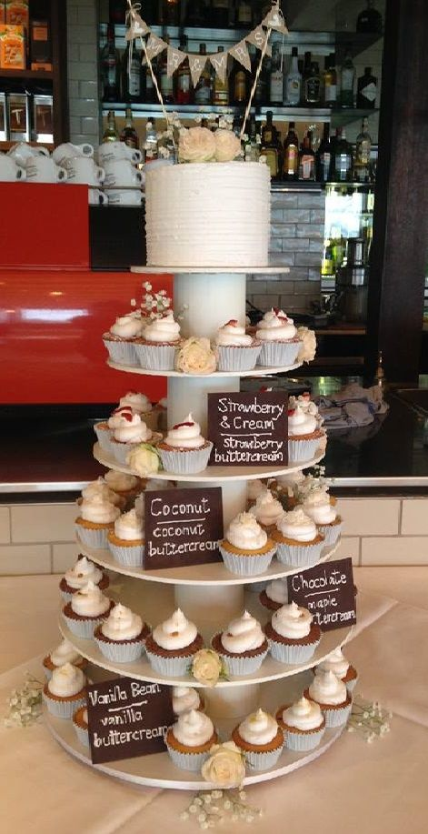 Rustic cupcakes with chocolate name plaques and etsy banner