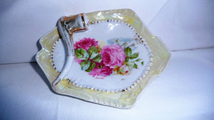 Vintage Porcelain Floral Ashtray With Pipe, Ceramic Ashtray, Jewelry Holder Dish, Home Decor by Grandchildattic on Etsy