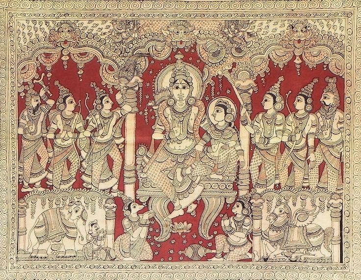 Ram Darbar - Kalamkari Folk Art Painting from Andhra Pradesh , India