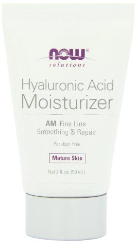NOW solutions Hyaluronic Acid Moisturizer AM Fine Line Smoothing & Repair Mature Skin Net 2 fl. oz. Paraben and Gluten Free. Condition: Skin in need of intense moisture and repair for fine lines and wrinkles. Mature Skin. AM Fine Line. Suitable for all skin types. Our unique high potency blend of Hyaluronic Acid and supporting extracts naturally restores the supple elasticity of healthy, youthful skin. Solution: Hyaluronic Acid AM Moisturizer is formulated to help draw moisture to...
