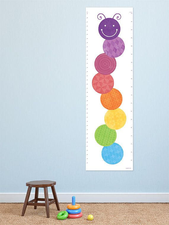 Modern Growth Chart. Fun caterpillar design for a bright and stylish ...