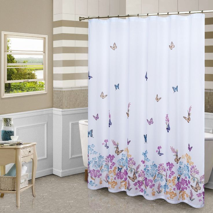 Features: -Material: 100% Polyester. -Machine wash cold, tumble dry low, cool iron, never bleach. -Color: Multi-colored. -Theme: Wildlife. Product Type: -Shower curtain. Color: -Multi-Colored.