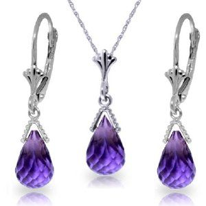 """14k White Gold Jewelry Set: Natural Briolette Purple Amethyst 18"""" Pendant Necklace and Dangle Earrings Galaxy Gold Products Inc.. $294.78"""