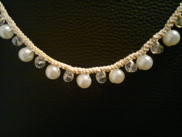 Crochet pearl necklace http://www.finecrochetedjewelry.blogspot.ro/