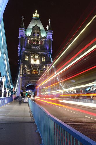 Speed of Light - taken with a Nikon D7000 on a very cold night on Tower Bridge.   Tags: light trails, time lapse, Tower Bridge, London, night photography