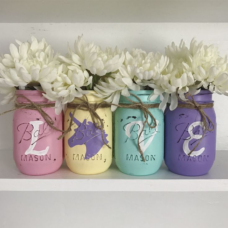 LOVE Rainbow Unicorn painted Mason jars set | Lularoe | Always be yourself unless you can be a Unicorn, then always be a unicorn | girls room decor | pink yellow turquoise purple https://m.facebook.com/TrueNorthCraftsByHolly/