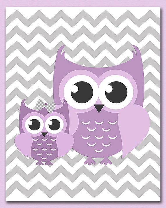 Purple And Grey Owl Wall Art Nursery Print Children Baby Decor Lavender Gray Unframed