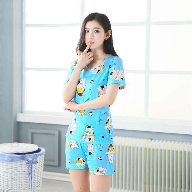 Fashion 2017 WAVMIT Women Pajamas Set Thin Cartoon Summer Girlfriend Gift Indoor Cloth Home Suit Sleepwear Short Sleeve Pyjamas #girlfriendgift