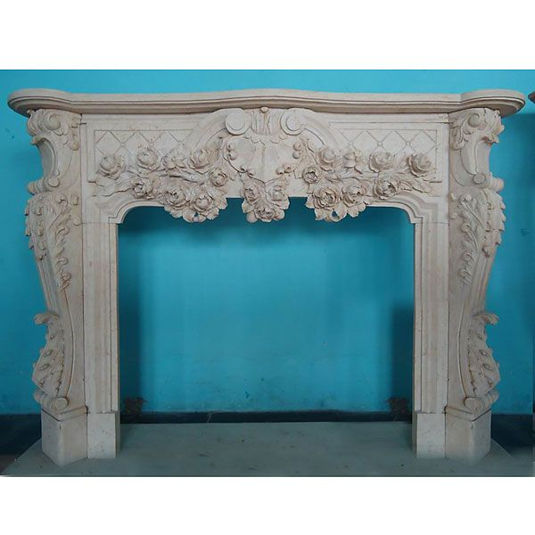 Mantle – Carved Marble Fireplace Mantel – Beige Marble (42×36.5)