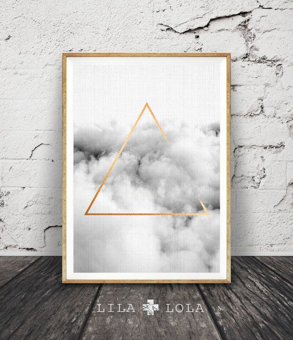 Modern Minimalist Triangle Wall Art, Cloud Print, Geometric Poster, Abstract, Graphic Design, Gold Foil, Printable Instant Download