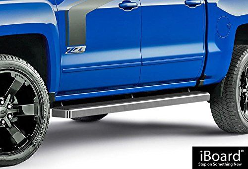 iBoard (Silver 5 inches) Running Boards | Nerf Bars | Side Steps | Step Rails For 2007-2017 Chevy Silverado / GMC Sierra Crew Cab. For product info go to:  https://www.caraccessoriesonlinemarket.com/iboard-silver-5-inches-running-boards-nerf-bars-side-steps-step-rails-for-2007-2017-chevy-silverado-gmc-sierra-crew-cab/