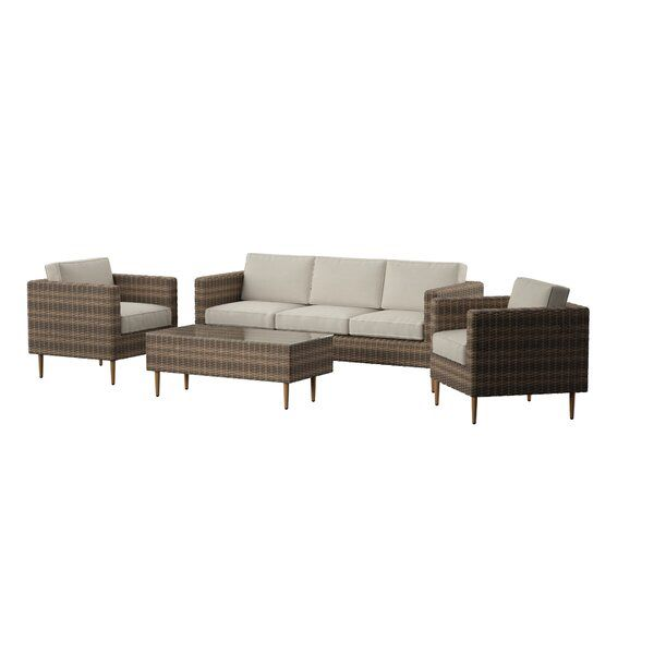 Charters Towers 4 Piece Rattan Sofa Seating Group With Cushions In