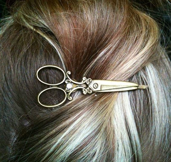Beautiful Bronze Scissor shears Necklace with matching Bobby pin gift / present / hairdresser / hair stylist on Etsy, $14.00
