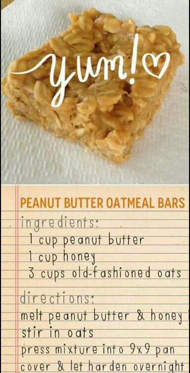 peanut butter oatmeal bars. Three ingredients and no sugar! Awesome.