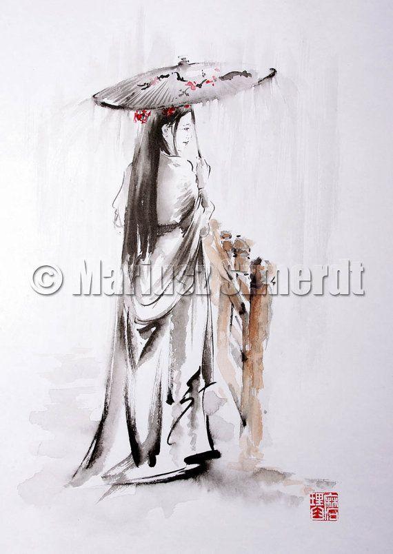 GEISHA Kimono Beautiful umbrella rain landscape Girl Woman Portrait GICLEE fine art print of watercolor and ink PAINTING