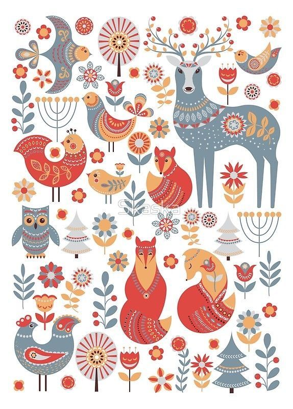 Stag Fox Bird Scandinavian Folk Art Folk Art Painting Pattern Art