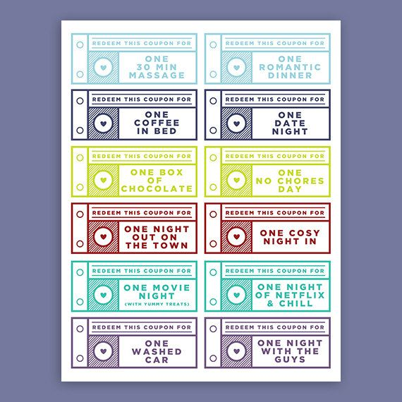 Printable Love Coupons for Him // INSTANT DOWNLOAD by BellaMemoire