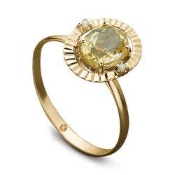 Anel Ouro Amarelo Diamante e Citrino Ritmo