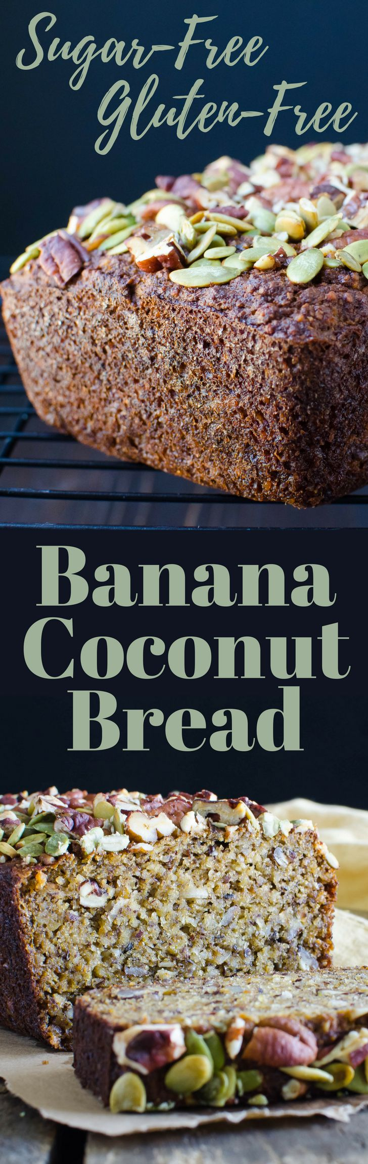 #ad Looking for a sugar-free banana bread recipe? Gluten-Free Coconut Banana Bread is moist and delicious with a crunchy pepita and pecan topping.