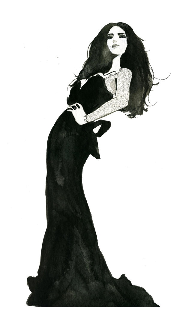 Original Watercolor Fashion Illustration by JessicaIllustration, $90.00