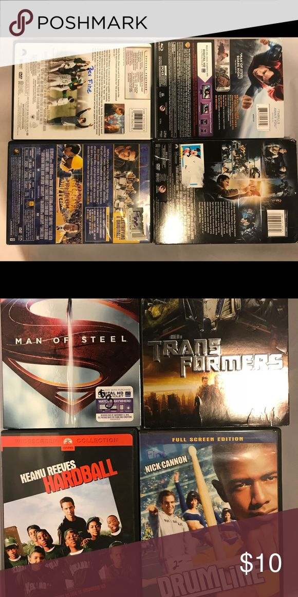 ASST DVD's transformers, man of steel. Drum line An assortment of family friendly DVD's. PG or PG-13. Really good movies!  Man of steel is blue ray Other