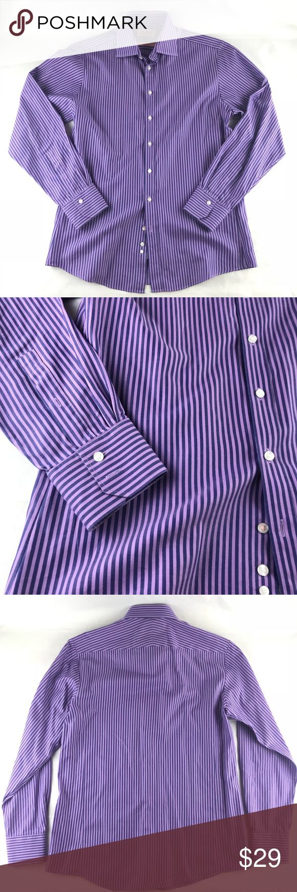 """Thomas Pink Dress Shirt Purple Stripe Slim Fit Thomas Pink Men's Dress Shirt Purple Vertical Stripe Cotton Slim Fit Size 15 1/2  Clean with no holes or stains, from a pet & smoke free environment.  Approximate Measurements  Size: 15.5  Material: 100% Cotton  Shoulders: 18""""  Chest (pit to pit): 22""""  Length: 29.5""""  We make every effort to inspect our items & strive for accuracy in our postings. Please be sure to review all pictures & feel free to ask any questions prior to purchasing. Thomas…"""
