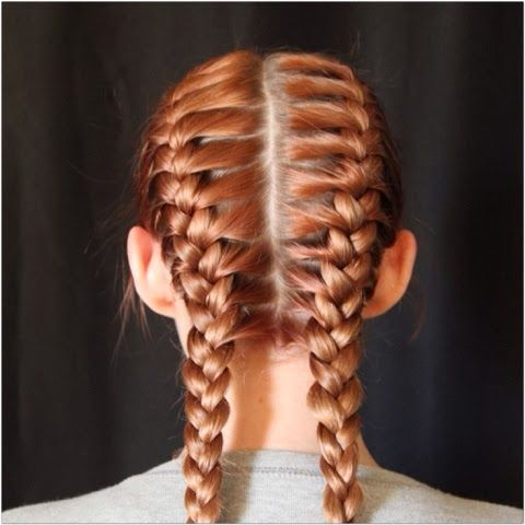 You can also do two French braids by parting the hair down the middle and braid each side, starting in the front and going straight back all the way down.