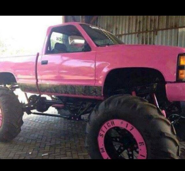 Pink lifted truck