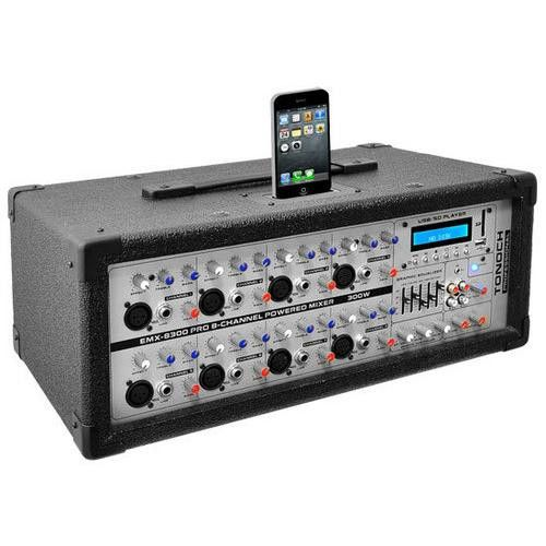 8-Channel 600 Watt Professional Mixer, Built-in 30 Pin iPod Dock, MP3 Player Input, SD and USB Flash Memory Readers